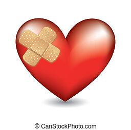 coração, faixa, adesivo