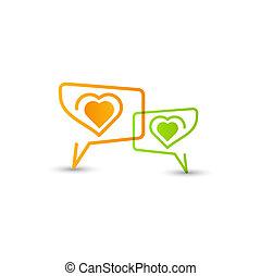 coração, fala, conceito, love., bolhas