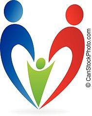 coração, família, logotipo
