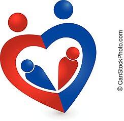 coração, família, símbolo, forma, desenho, modelo, logotipo