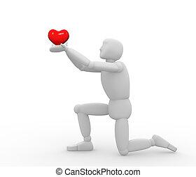 coração, fantoche, 3d