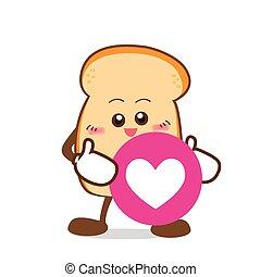 coração, fatia, amor, isolado, mão, sorrizo, pão, caricatura, feliz