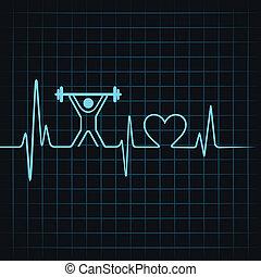 coração, &, fazer, batida coração, levantamento, homem