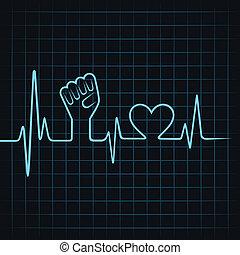 coração, fazer, batida coração, unidade, mão
