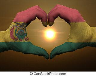 coração, feito, amor, colorido, símbolo, bandeira, gesto, mãos, durante, bolívia, mostrando, amanhecer