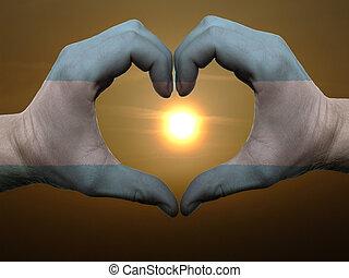 coração, feito, amor, colorido, símbolo, bandeira, gesto, mãos, durante, argentina, mostrando, amanhecer