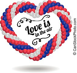 coração, feito, balões, ceremony., casório
