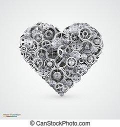 coração, feito, cogwheel.