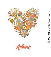 coração, feito, cute, vindima, folhas, forma, flores