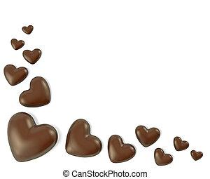 coração, feito, dado forma, bala doce, chocolate, canto