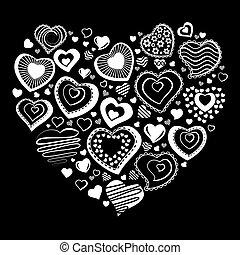 coração, feito, de, branca, contorno, formas coração