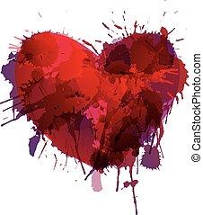 coração, feito, grunge, esguichos, coloridos