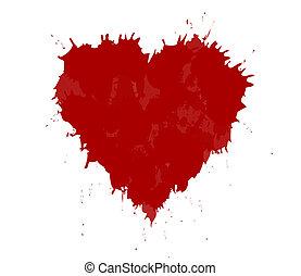 coração, feito, grunge, valentine, theme., ilustração, vetorial, ink., dia, vermelho