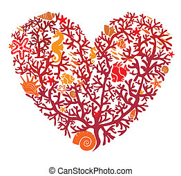 coração, feito, isolado, corais