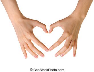 coração, feito, isolado, fundo, mãos, branca