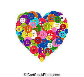 coração, feito, isolado, ilustração, valentine, botões, experiência., vetorial, theme., branca, dia