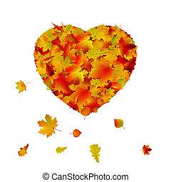 coração, feito, leaf., eps, outono, forma, 8