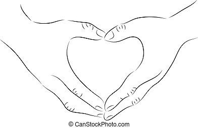 coração, feito, mão, forma, desenho, desenho