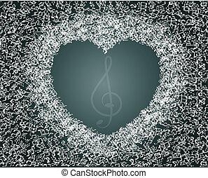 coração, feito, notas, valentines, -, música, desenho, abstratos