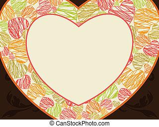 coração, feito, occasions., coloridos, marrom, abstratos, espaço, seamless, quadro, forma, outro, valentines, fundo, corações, cópia, dia