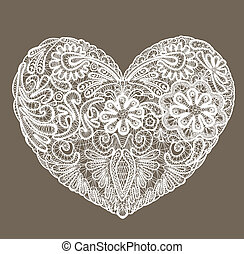 coração, feito, renda, doily, valentines, elemento, forma, ...