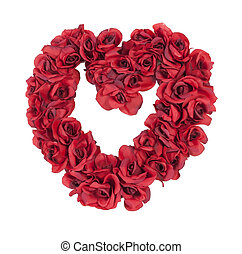 coração, feito, rosas vermelhas