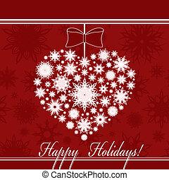 coração, feito, snowflakes, seamless, ilustração, experiência., vetorial, natal