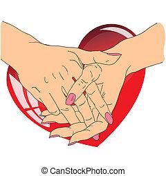 coração, femininas, vermelho, mãos