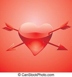 coração, ferido, vidro