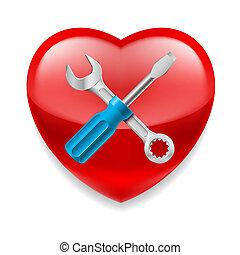 coração, ferramentas, vermelho