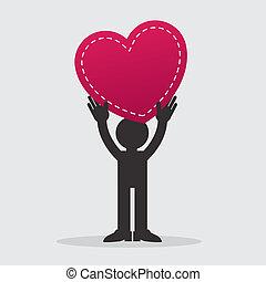 coração, figura, segurando