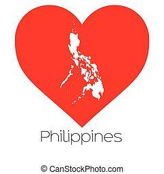 coração, filipinas, forma, ilustração