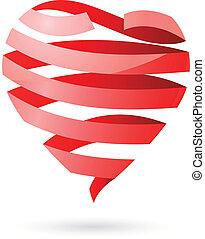 coração, fita, 3d