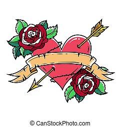 coração, fita, perfurado, seta vermelha, rosa, tatuagem