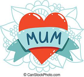coração, fita, tatuagem, ilustração, vetorial, mum