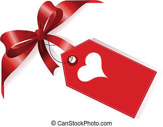 coração, fita, vermelho, etiqueta