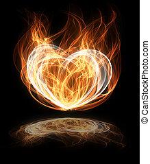 coração, flamejante