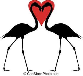 coração, flamingos, vermelho
