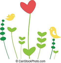 coração, flor, com, pássaros