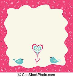 coração, flor, quadro, dois, retro, pássaros