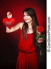 Coração, flor,  rosÈ, fundo, menina, vermelho
