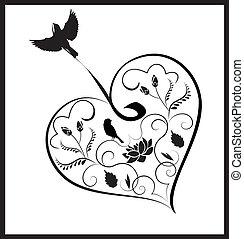 coração, flores, 2, pássaros
