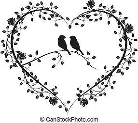 coração, flores, 4, pássaros