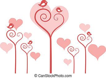 coração, flores, com, pássaros, vetorial