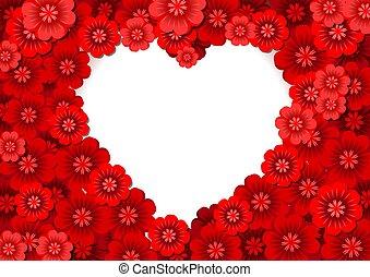 coração, flores, dado forma