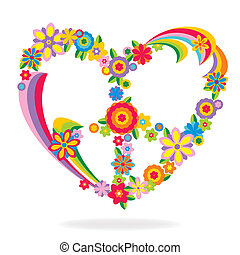 coração, flores, feito, sinal paz