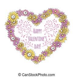 coração, flores, feito