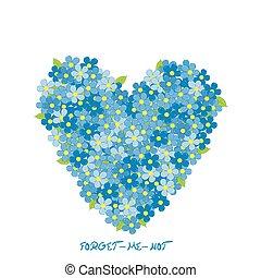 coração, flores, miosótis, feito
