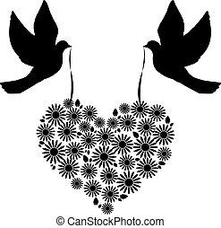coração, flores, pássaros, 6