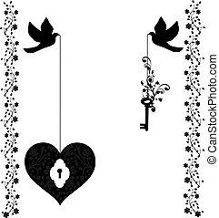 coração, flourishes, pombas, tecla